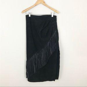 Dresses & Skirts - Vintage 14 Suede Leather Skirt Midi Fringe Black